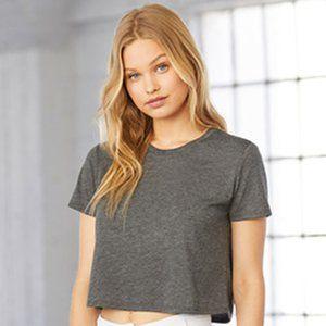 BELLA + CANVAS Flowy Cropped T-Shirt (Dark Grey)